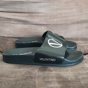 NEW! Valentino - Miranda Logo Leather Slides